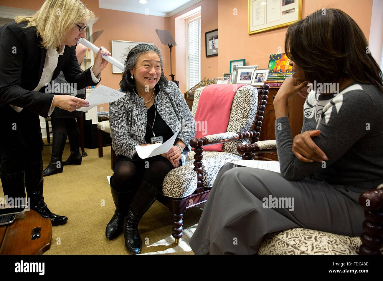 U.S. First Lady Michelle Obama, Senior Advisor Melissa Winter and Chief of Staff Tina Tchen participate in mental - Stock Image