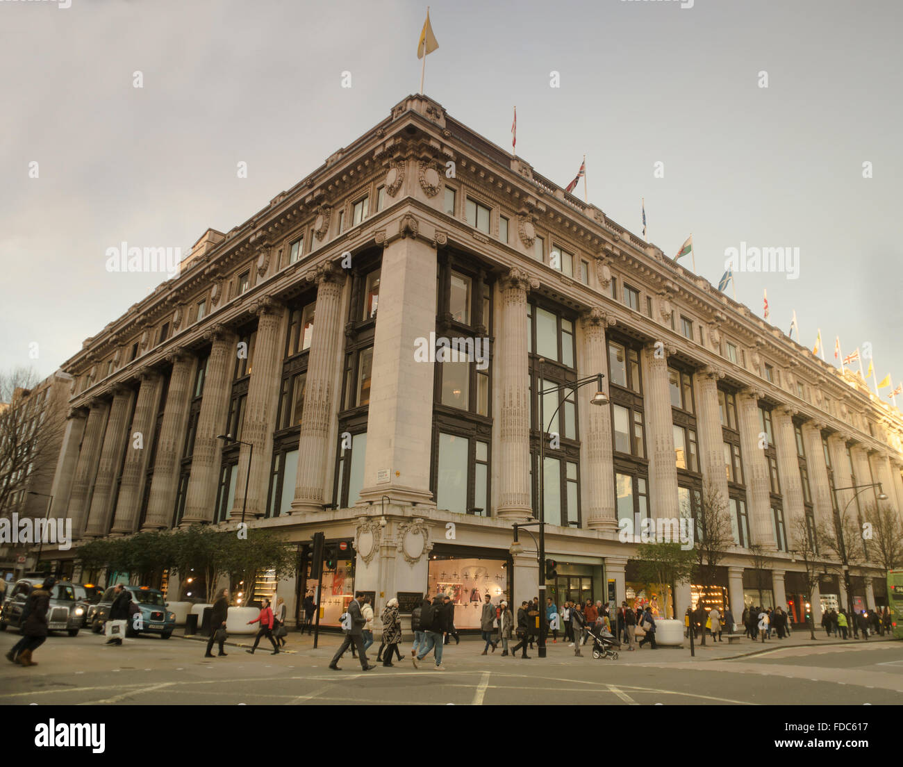 Selfridges department store viewed from Oxford Street at the intersection with Orchard Street. Central London, UK. - Stock Image