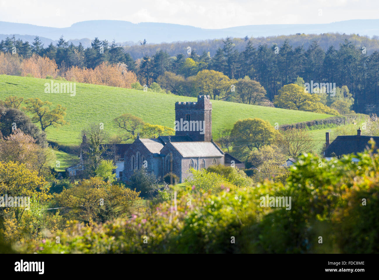 Stockleigh Pomeroy church in the rural countryside near Crediton, Devon, England, UK - Stock Image