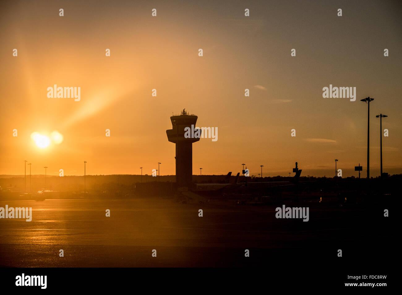 Sunset at Gatwick airport, Gatwick, England, UK - Stock Image