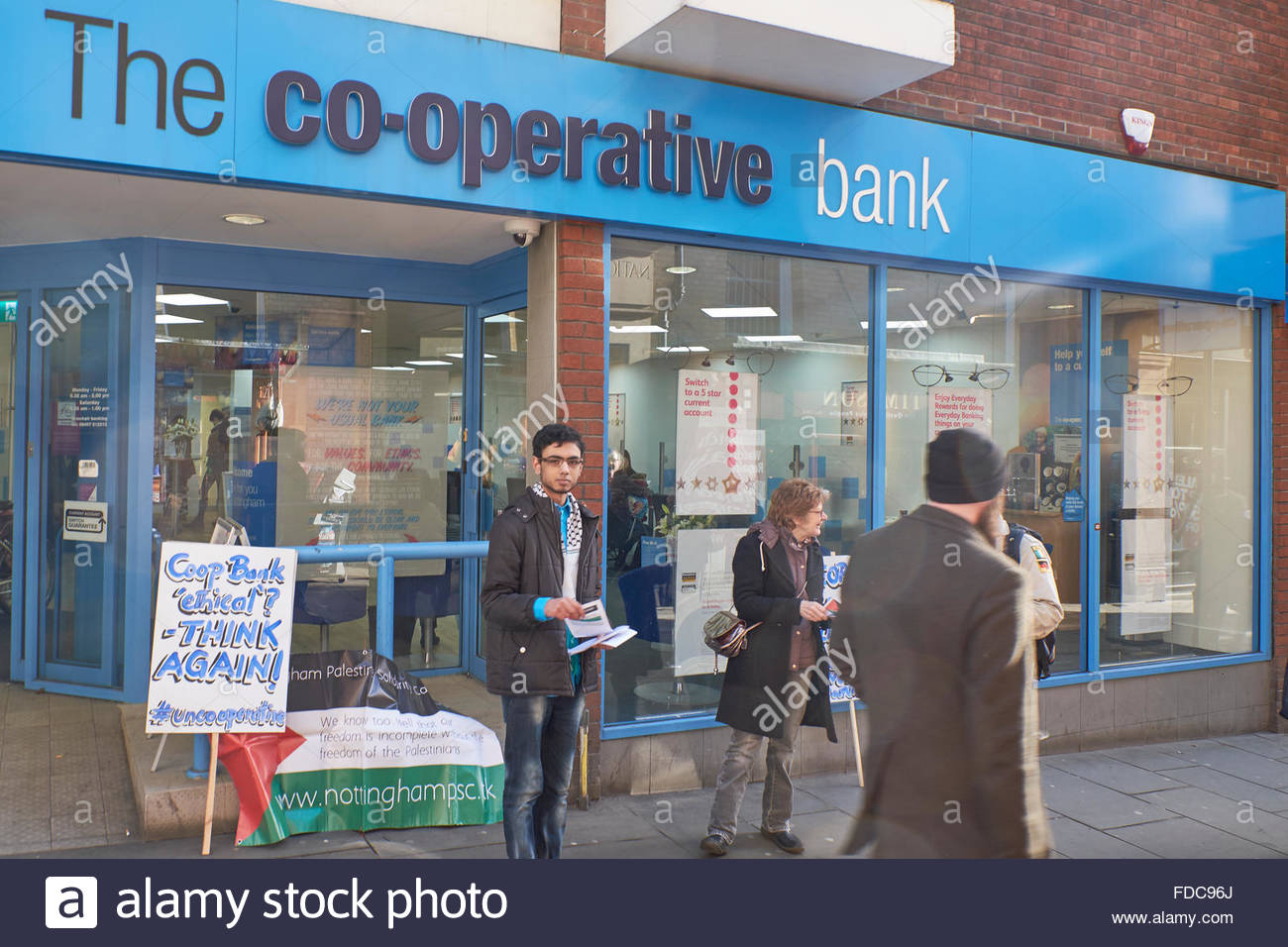 Nottingham, UK. 30th Jan 2016. Protest by Palestinian Solidarity Campaign against Co-op Bank Protest at The Cooperative - Stock Image