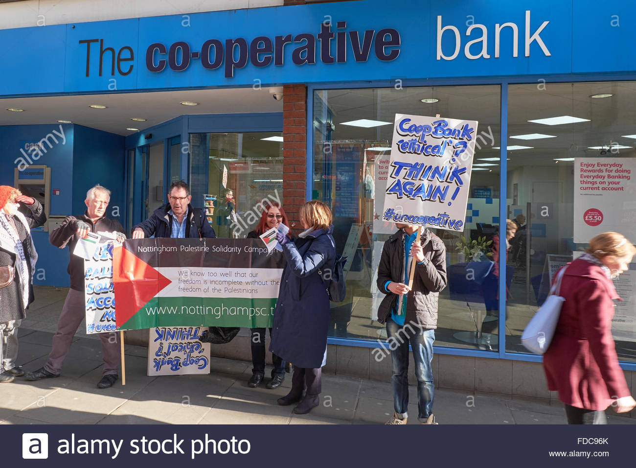 Nottingham, UK. 30th Jan 2016 Protest by Palestinian Solidarity Campaign against Co-op Bank Protest at The Cooperative - Stock Image