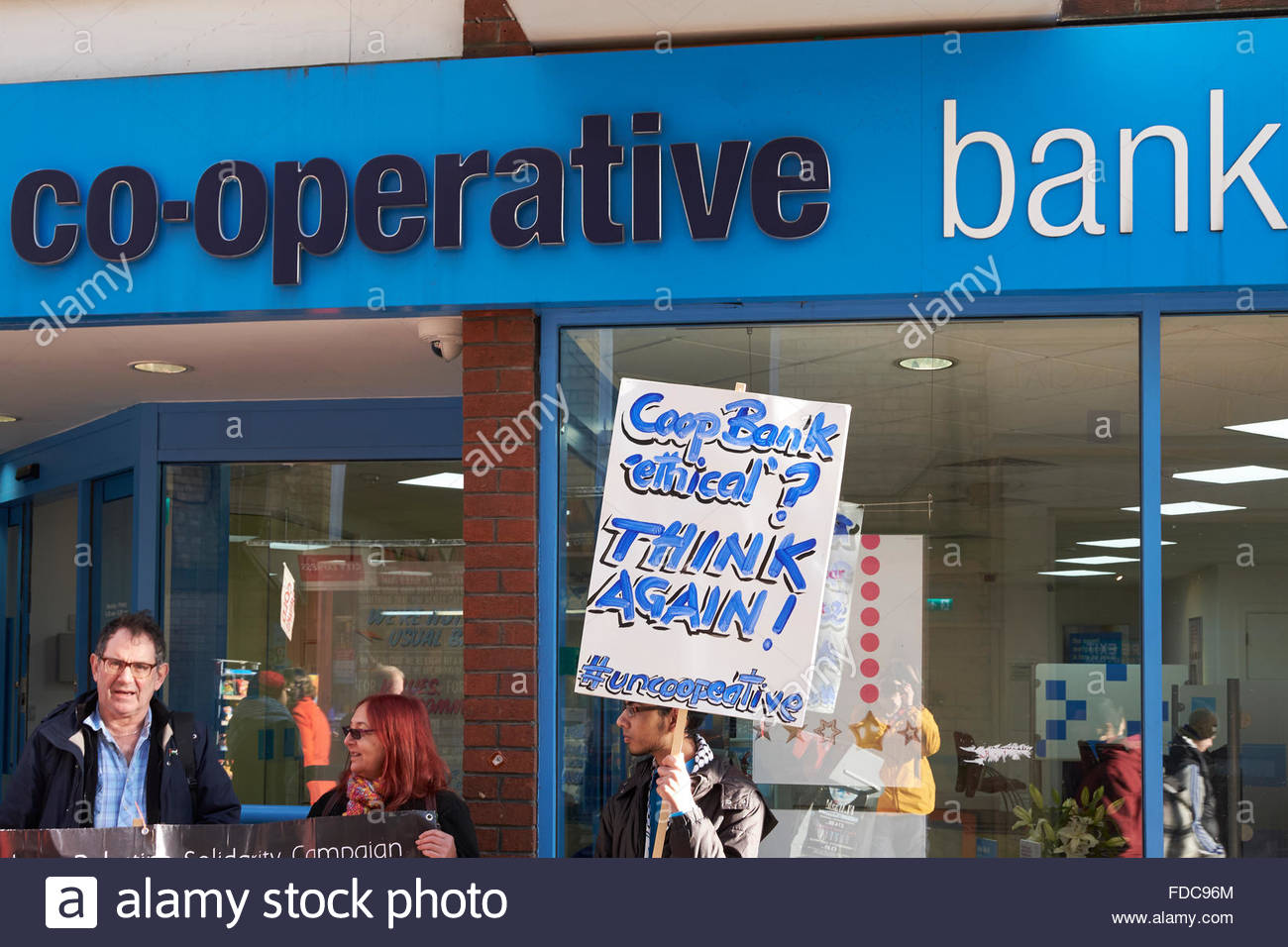 Nottingham, UK, 30 January 2016, Protest by Palestinian Solidarity Campaign against Co-op Bank  Protest at The Cooperative - Stock Image