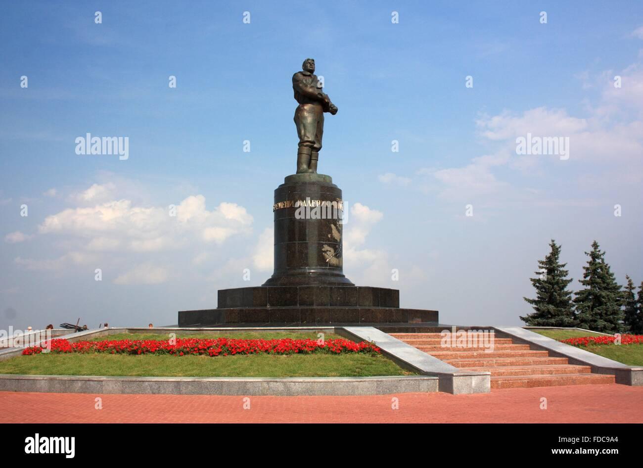 Monument to airman Valery Chkalov Monument in Nizhny Novgorod. Russia, Nizhny Novgorod - Stock Image