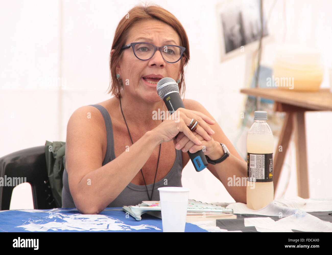 Buenos Aires, Argentina. 29th Jan, 2016. People camping in Plaza de Mayo in front of Casa Rosada claiming for free of social activist Milagro Sala detained in Jujuy. Credit:  Néstor J. Beremblum/Alamy Live News Stock Photo
