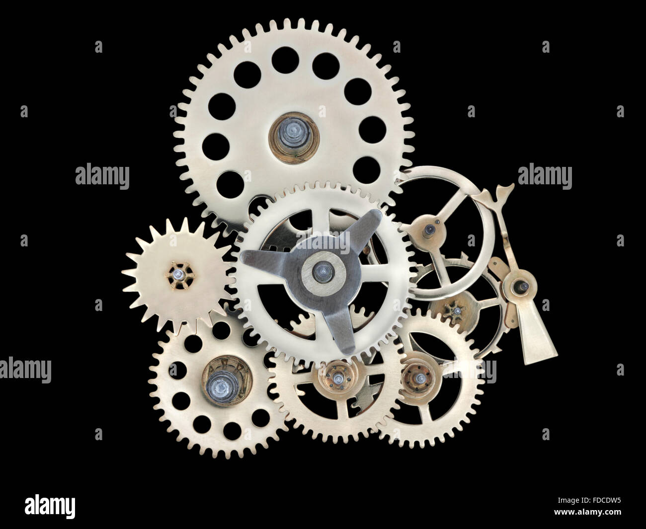 Closeup of gears from clock works. - Stock Image