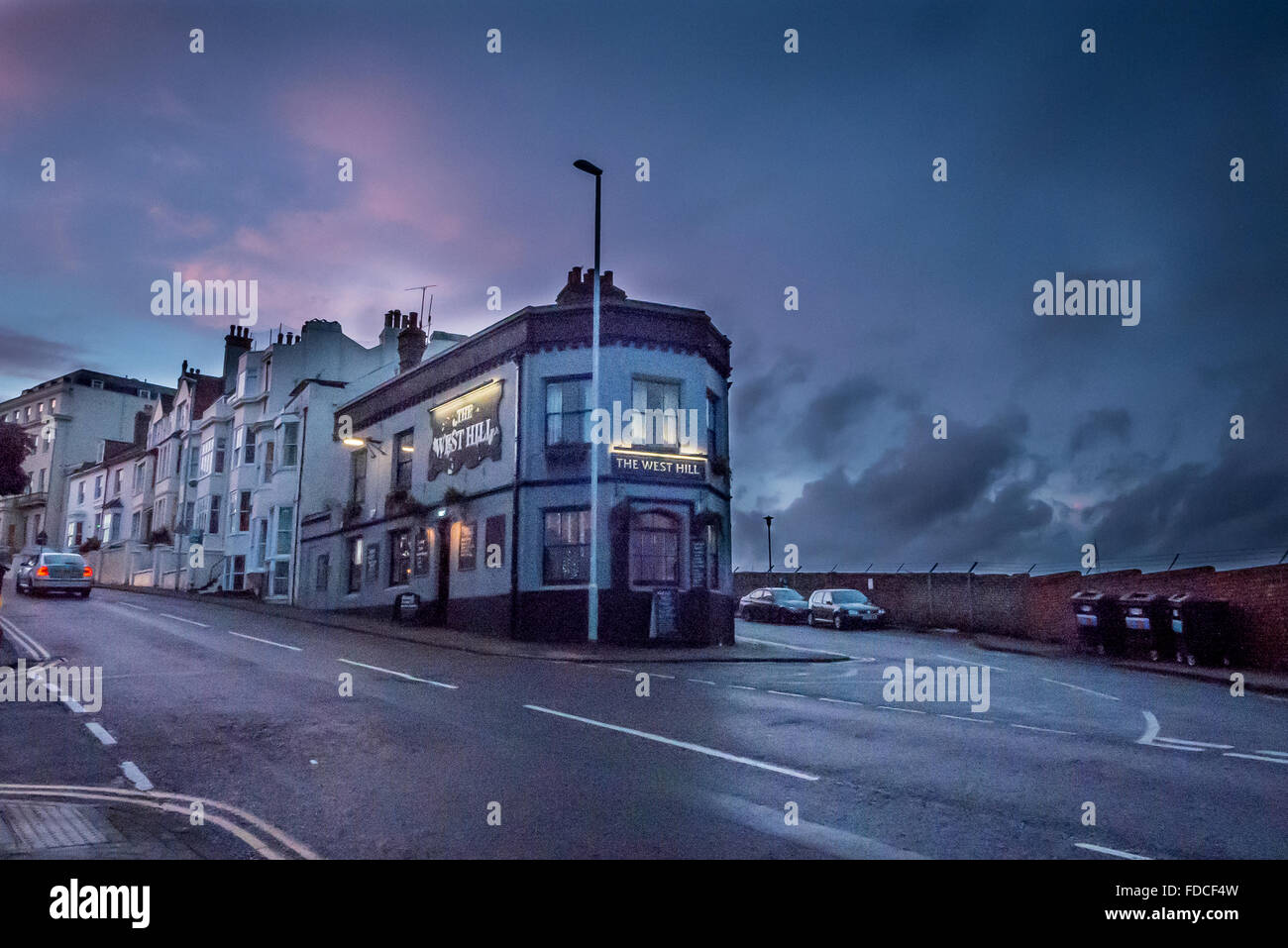 Dusk over the West Hill pub in Brighton. - Stock Image