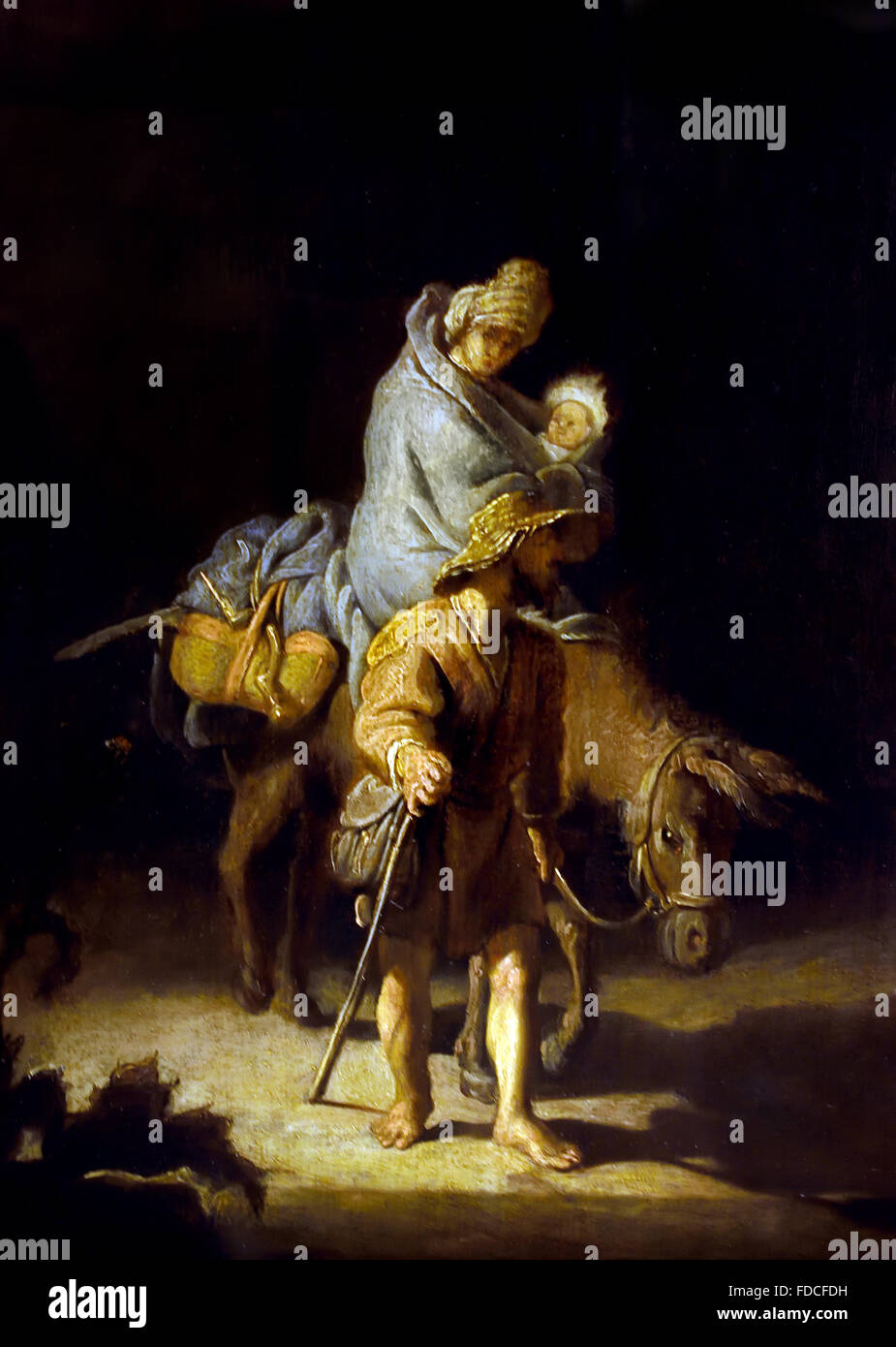 La Fluite en Egypte - The Flight into Egypt 1627 Rembrandt Harmensz van Rijn 1606 - 1669 Dutch Netherlands - Stock Image