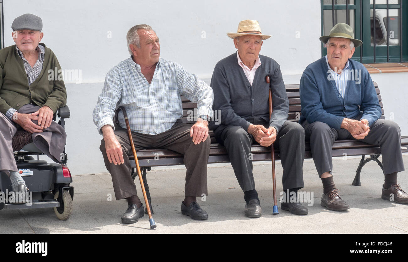 Old Gentlemen, Frigiliana a white town near Nerja, Costa Del Sol, Andalusia, Spain, - Stock Image