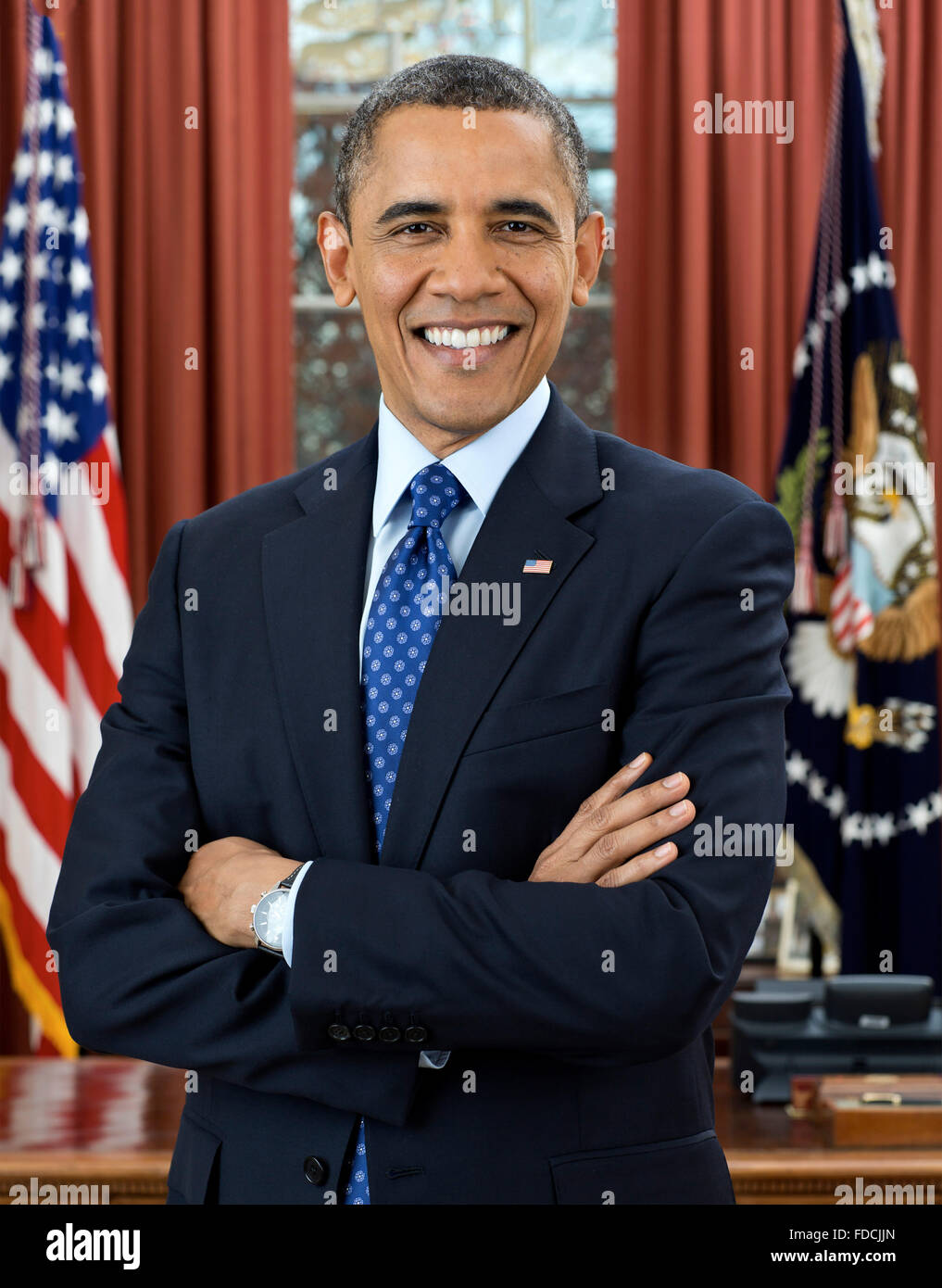 Barack Obam, Portrait. Official White House portrait of Barack Obama, the 4th President of the USA, December 2012 - Stock Image