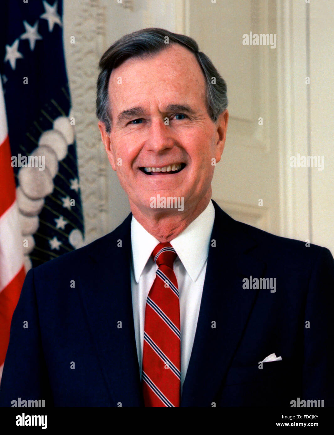 Official White House photo of George H W Bush, 41st  President of the USA, c.1989 - Stock Image