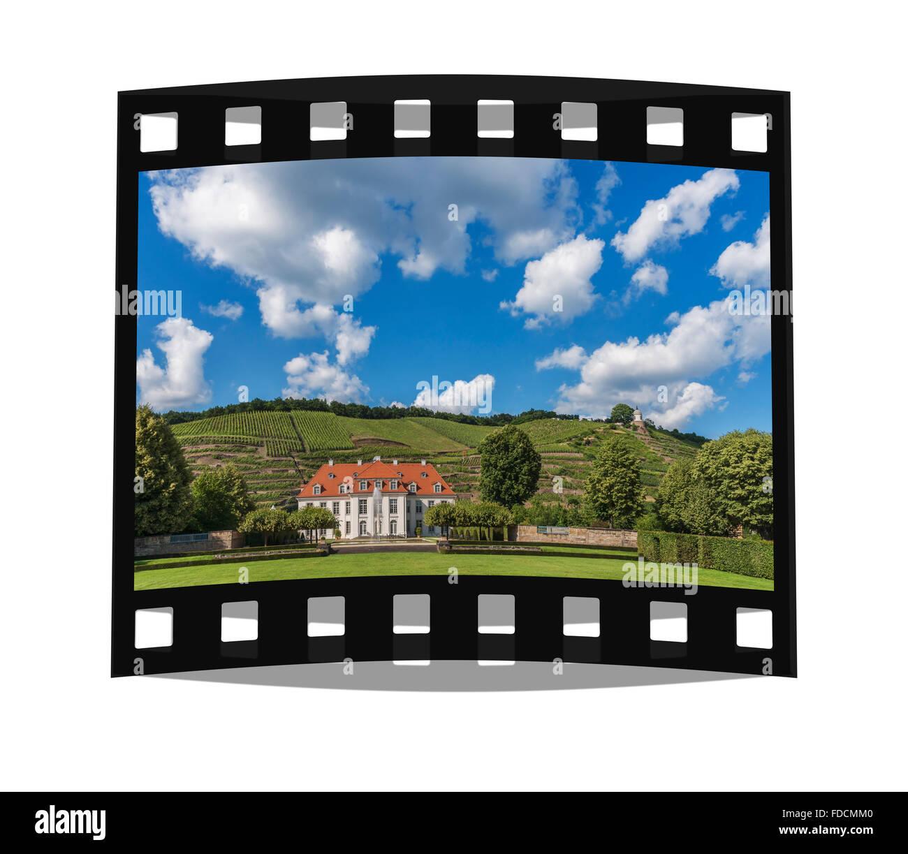 The baroque castle Wackerbarth is a wine-growing estate in Radebeul near Dresden, Saxony, Germany, Europe Stock Photo