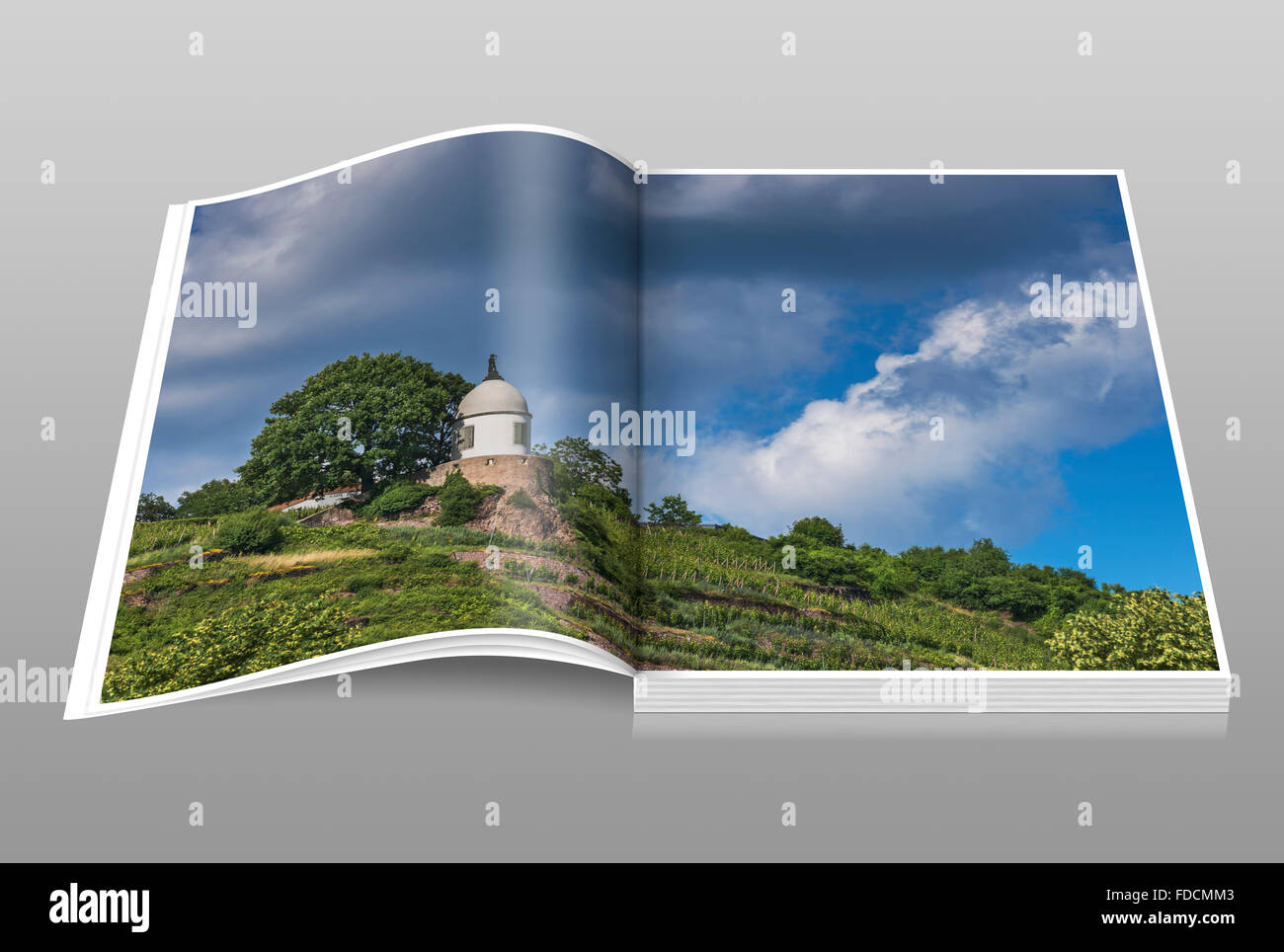 The Jacobstein is a vineyard gazebo in Radebeul near Dresden, Saxony, Germany, Europe Stock Photo