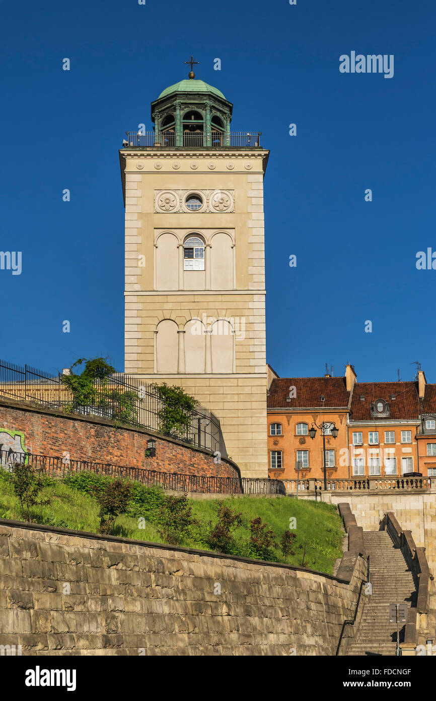 The freestanding bell tower of St. Annes Church is located in the historic old town of Warsaw, Masovian, Poland, - Stock Image