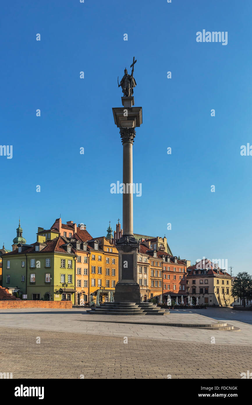 The Palace Square with Sigismunds Column is located in the historic old town (Srodmiescie) of Warsaw, Masovian, Poland, Europe Stock Photo