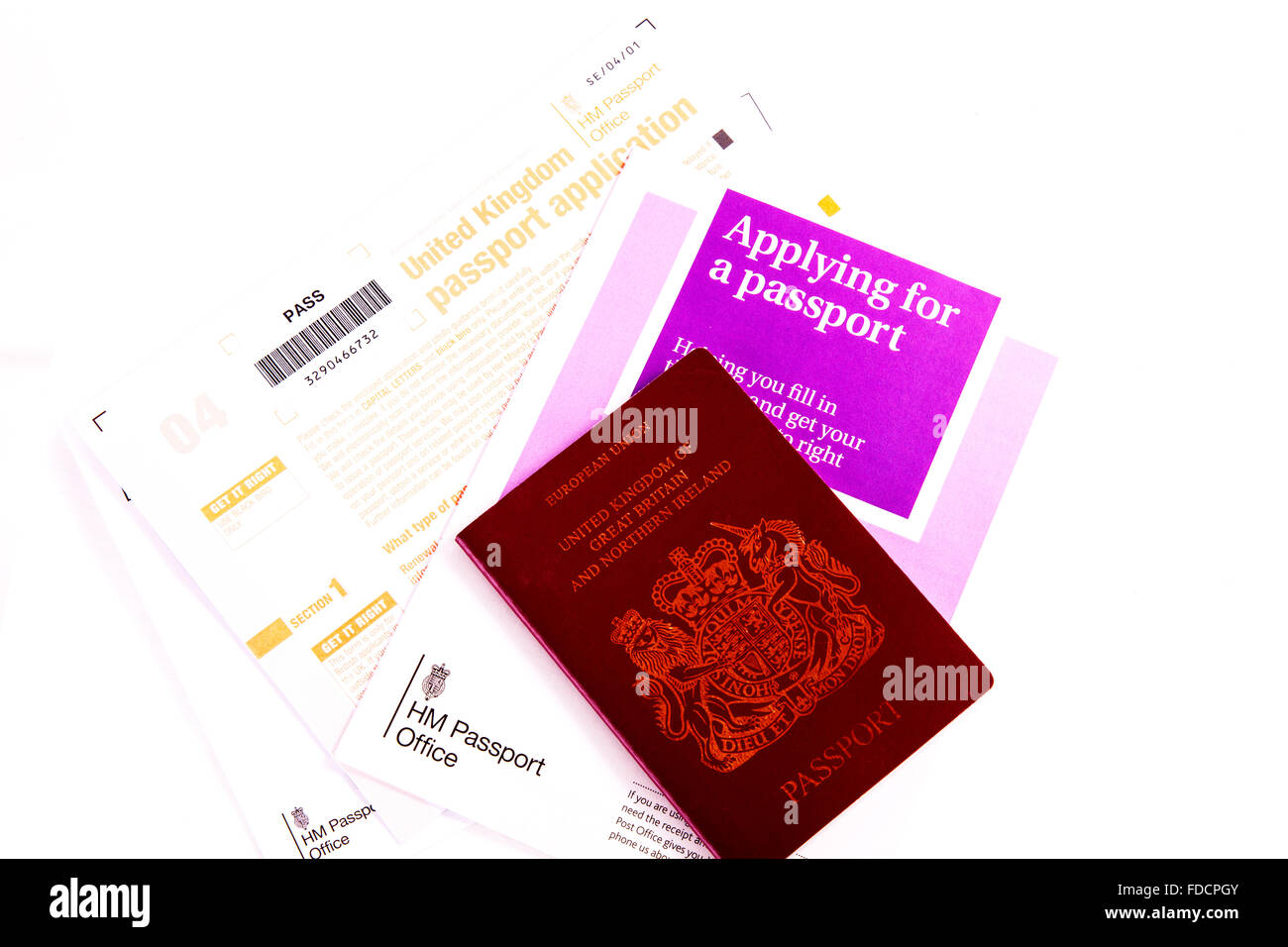 Passport application form UK applying for new passport office travel permit cut out cutout white background isolated - Stock Image