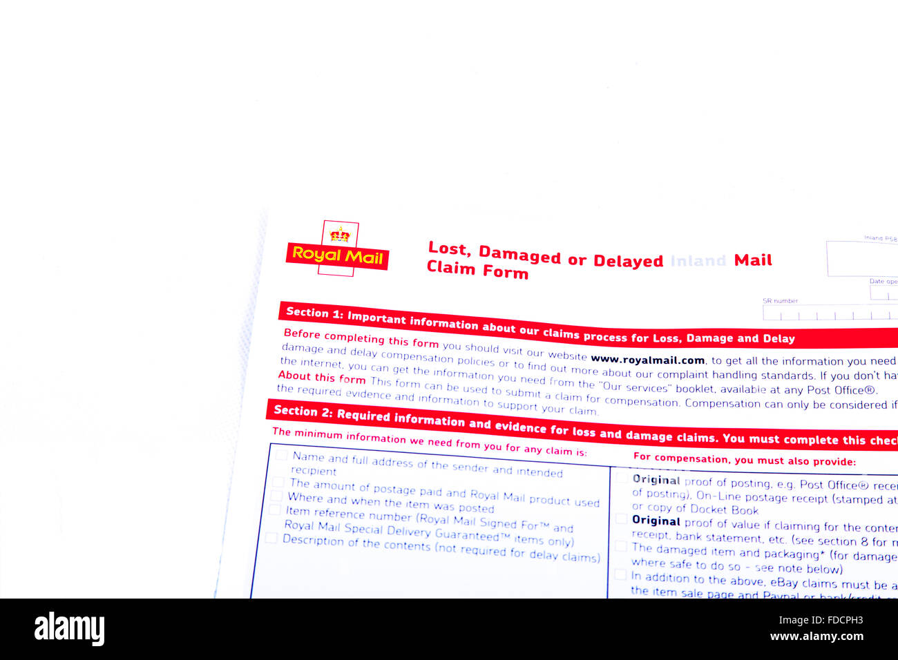 Royal mail lost damaged or delayed claim form claims post posted postage loss losses cut out cutout white background - Stock Image