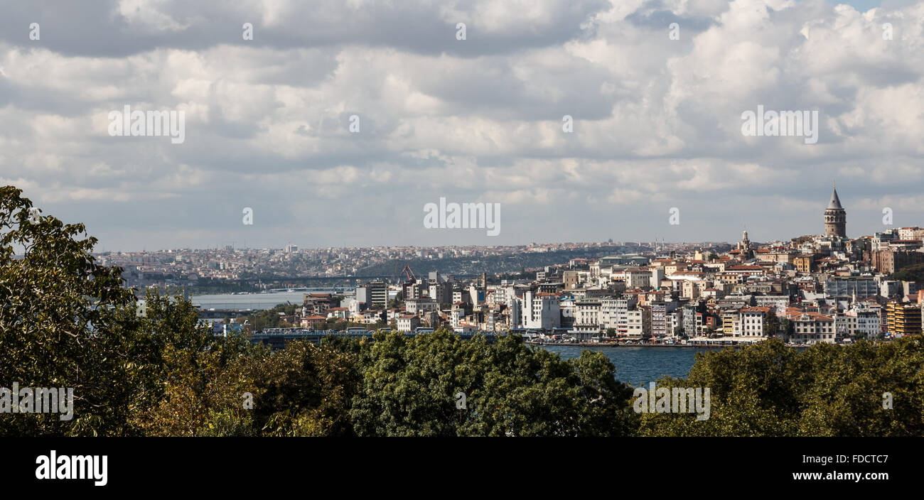 Istanbul, Turkey Landscape across the Bosphorus and Galata Tower Stock Photo