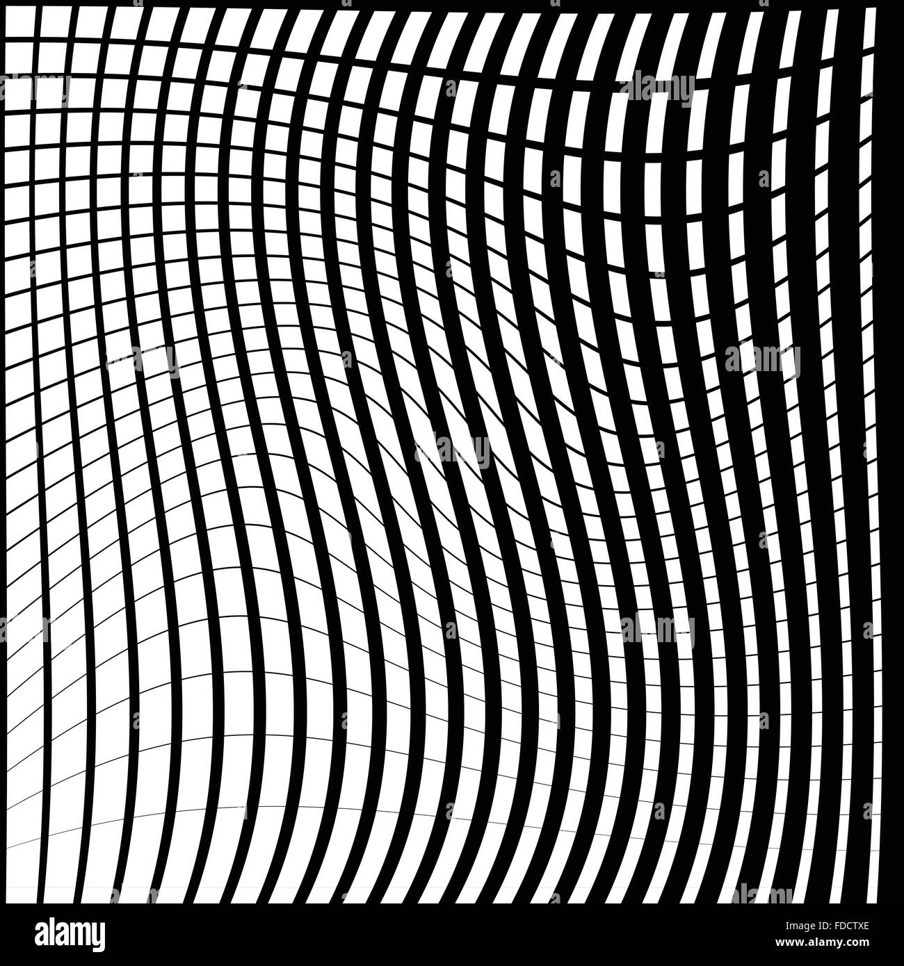 Warped, distorted lines abstract monochrome pattern / background. For your designs - Stock Image