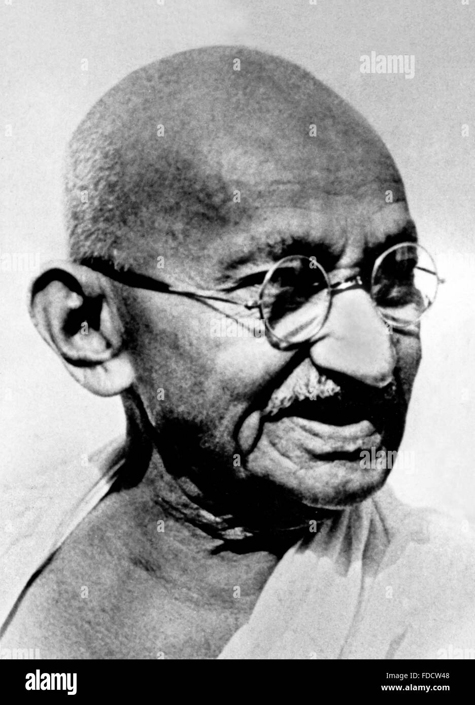 Mahatma Gandhi. Portrait of Mohandas Karamchand Gandhi, widely known as Mahatma Gandhi.Photograph most probably - Stock Image