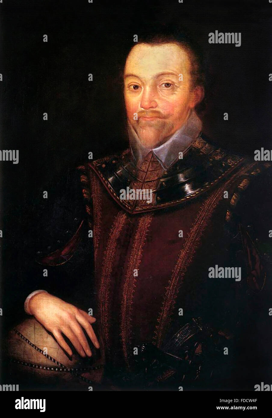 Sir Francis Drake, portrait by Marcus Gheeraerts der Jüngere, painted some time after 1590 - Stock Image