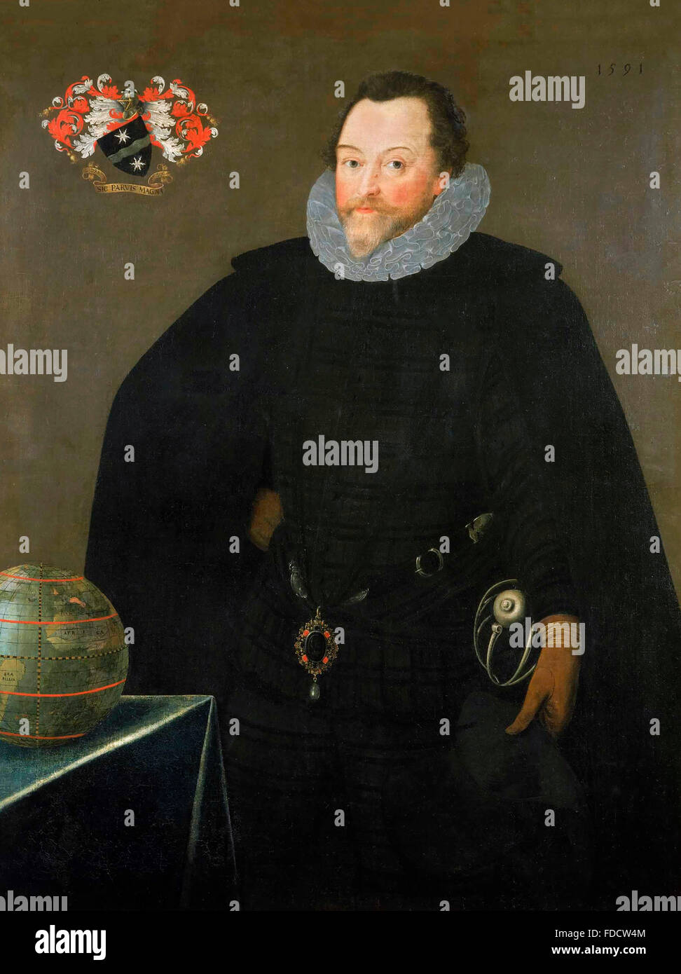 Francis Drake.Portrait of Sir Francis Drake, wearing the Drake Pendant, by Marcus Gheeraerts der Jüngere, 1591 - Stock Image
