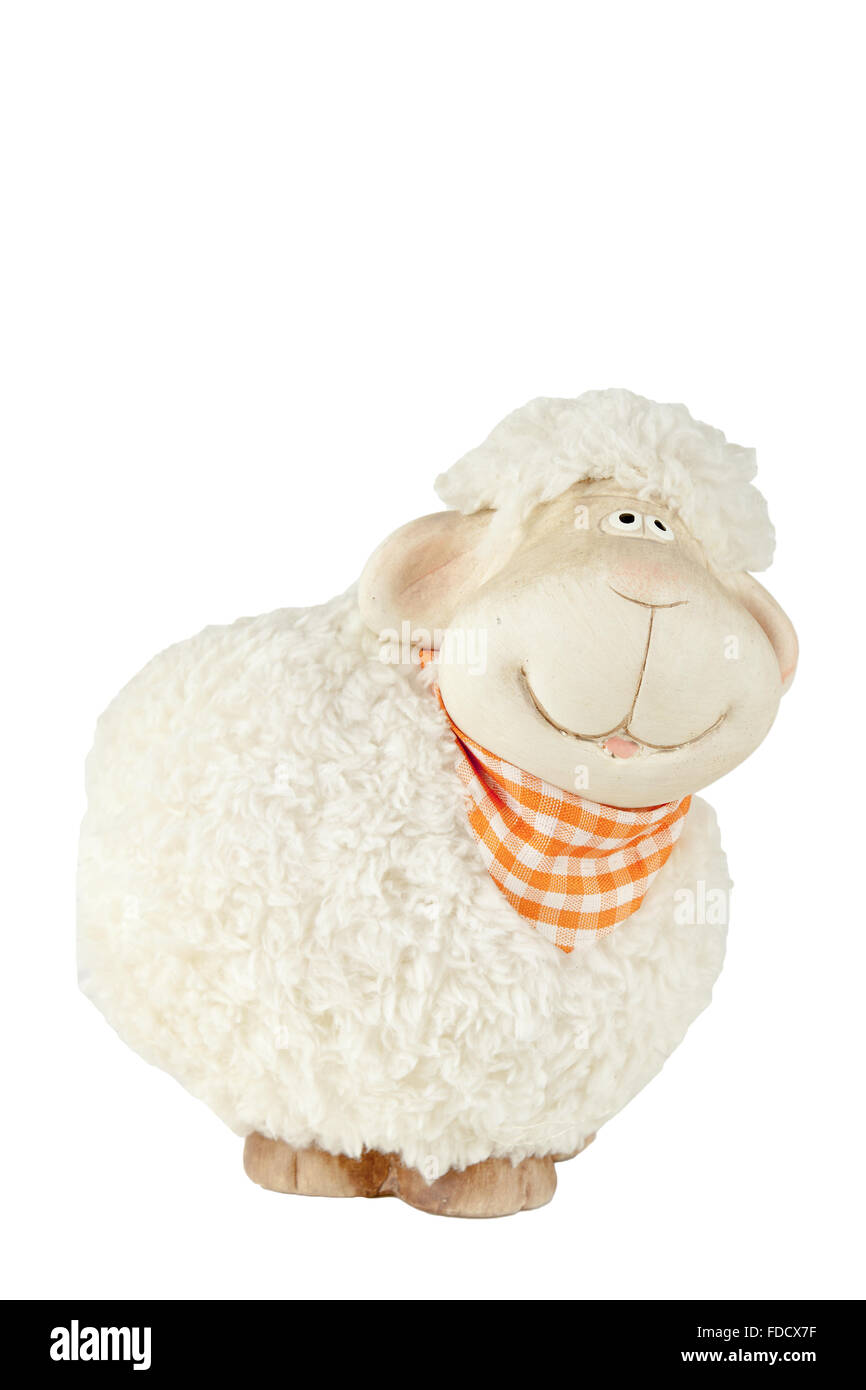 Small fluffy toy sheep isolated on white background - Stock Image
