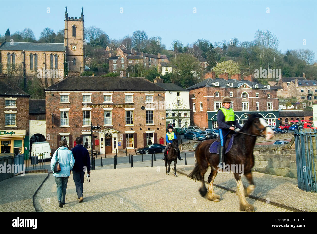 Horses and people on Ironbridge River Severn Telford Shropshire England GB Europe - Stock Image