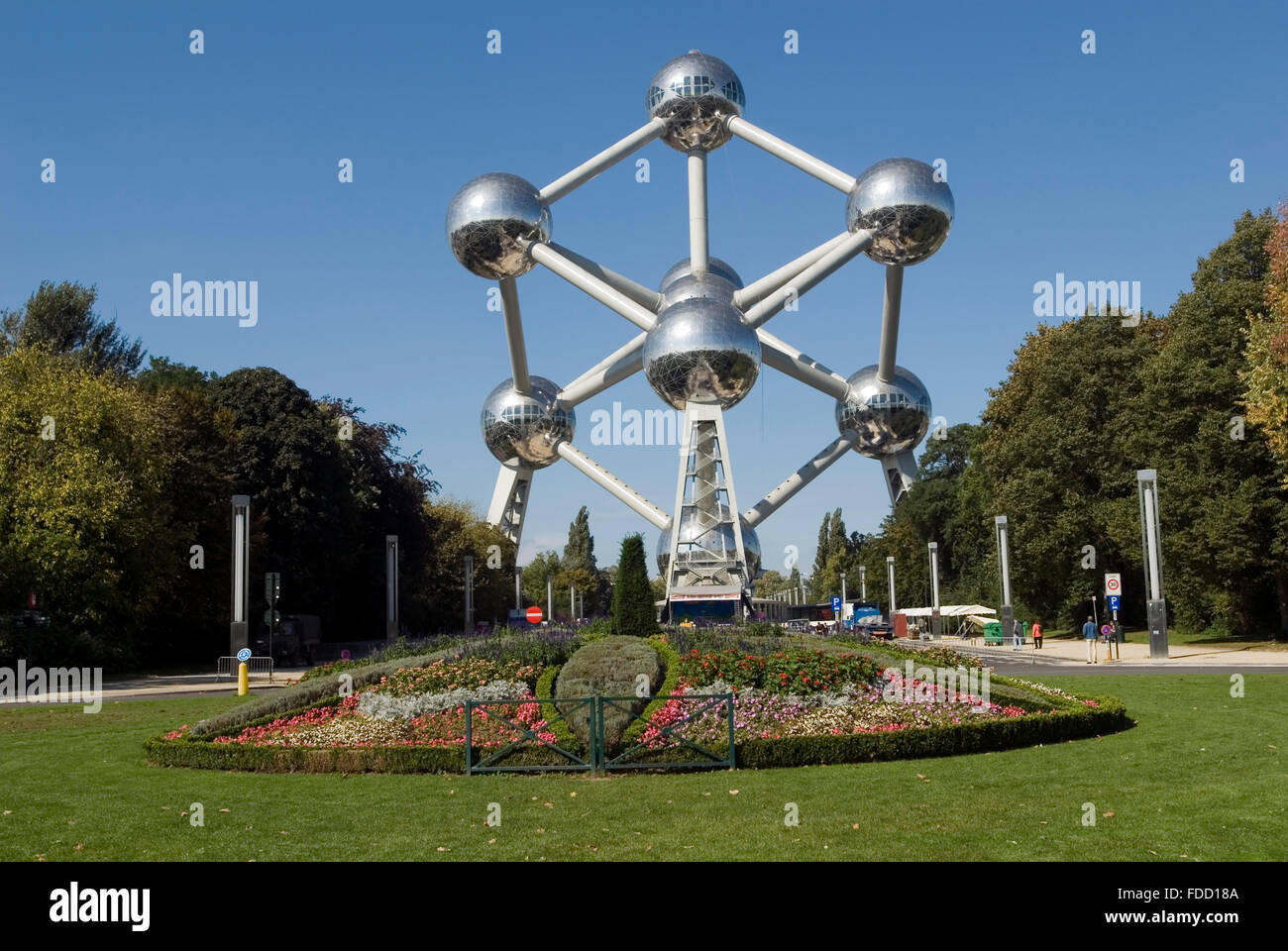 Atomium Worldfamous Monument of an iron atomic nucleus Brussels Belgium Europe - Stock Image