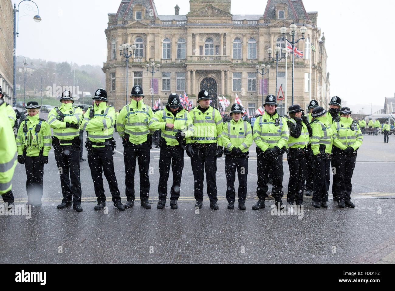 Dewsbury, Yorkshire, UK. 30th Jan, 2016. About three to four hundred activist marched in Dewsbury this afternoon, - Stock Image
