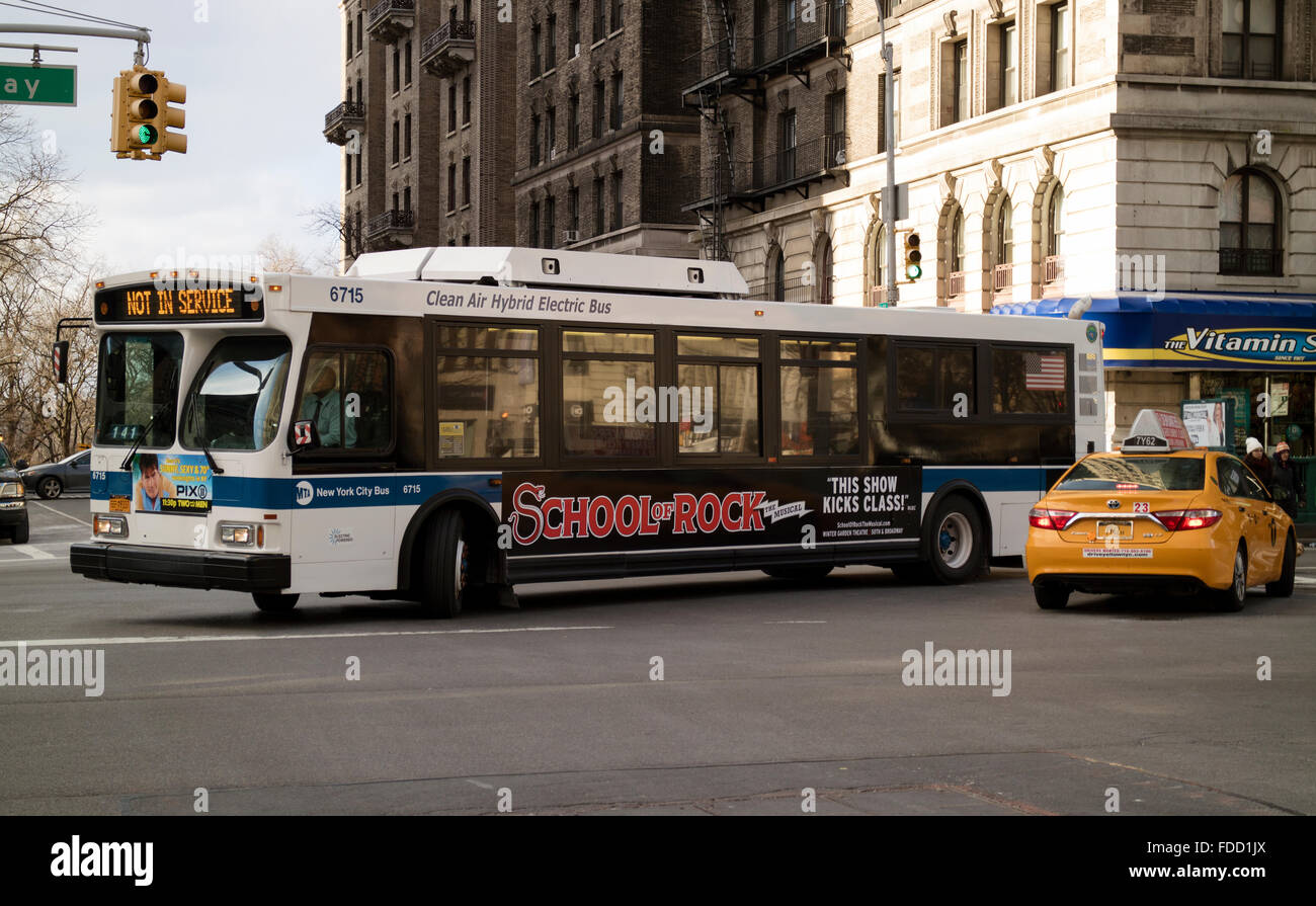Clean Air Hybrid Electric bus on Broadway New York USA - Stock Image