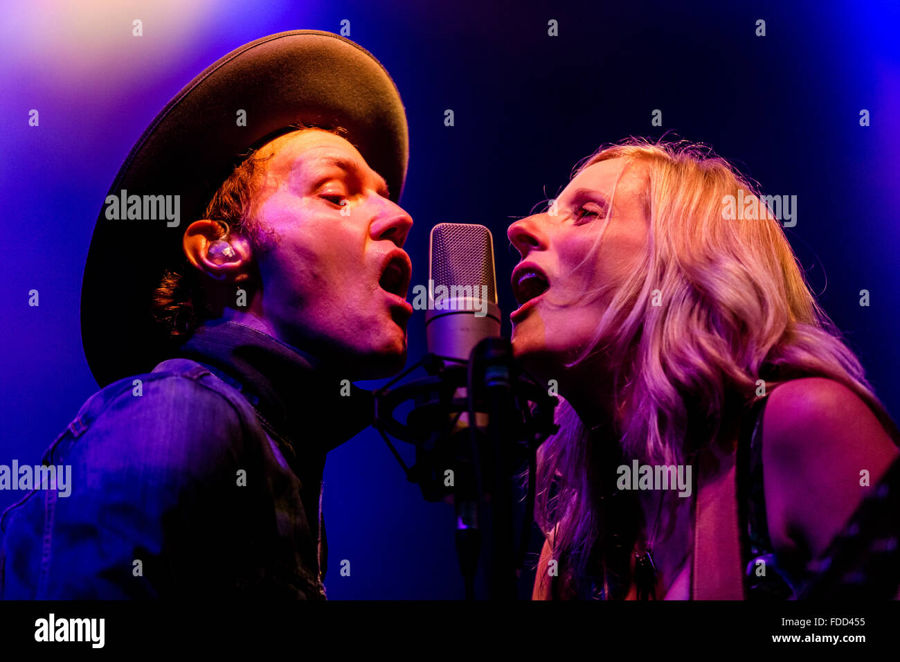 Luke Doucet and Melissa McClelland of Whitehorse at Squamish Valley Music Festival in Squamish, BC on August 9th - Stock Image
