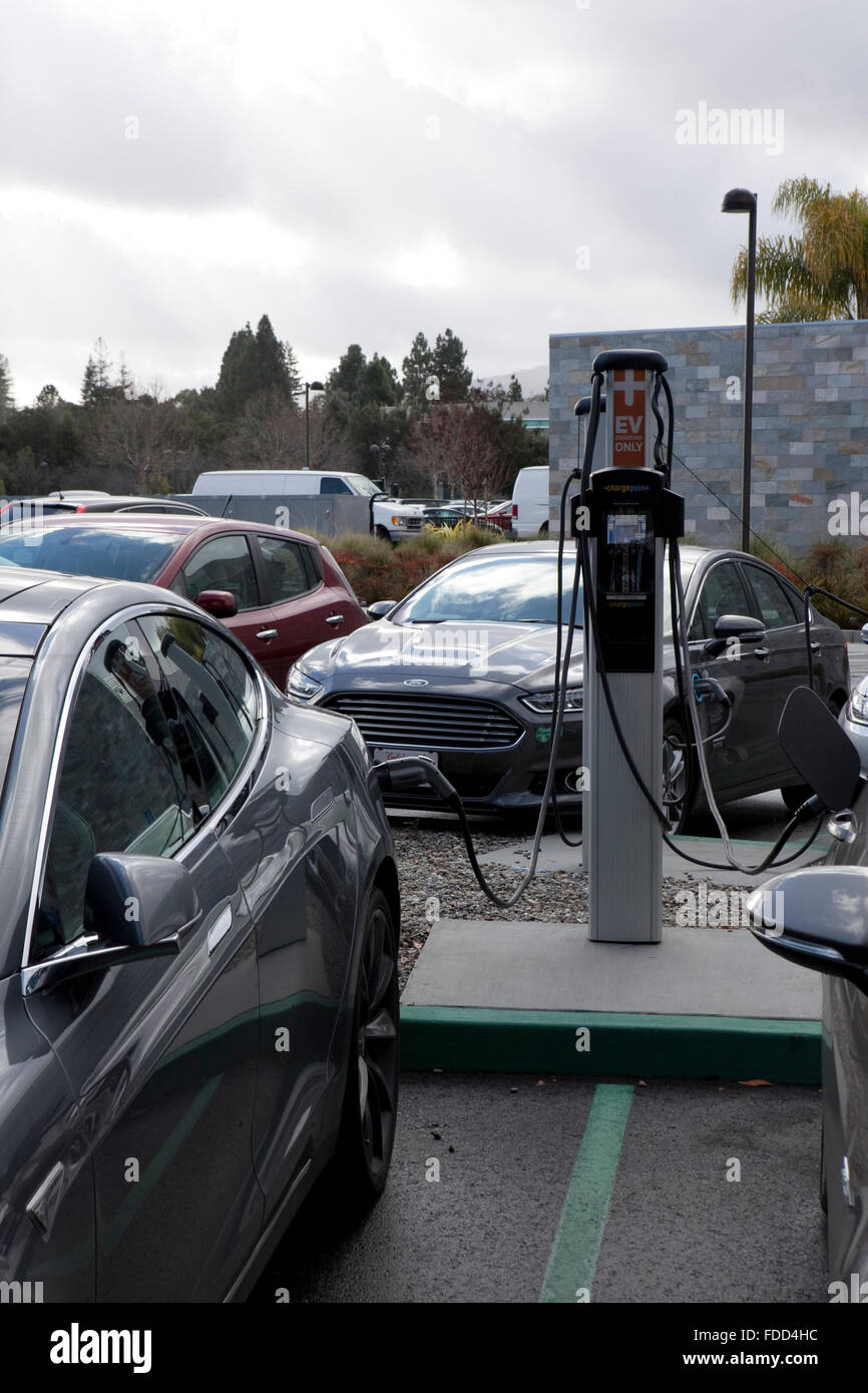 A view of an electric vehicle charger in California - Stock Image