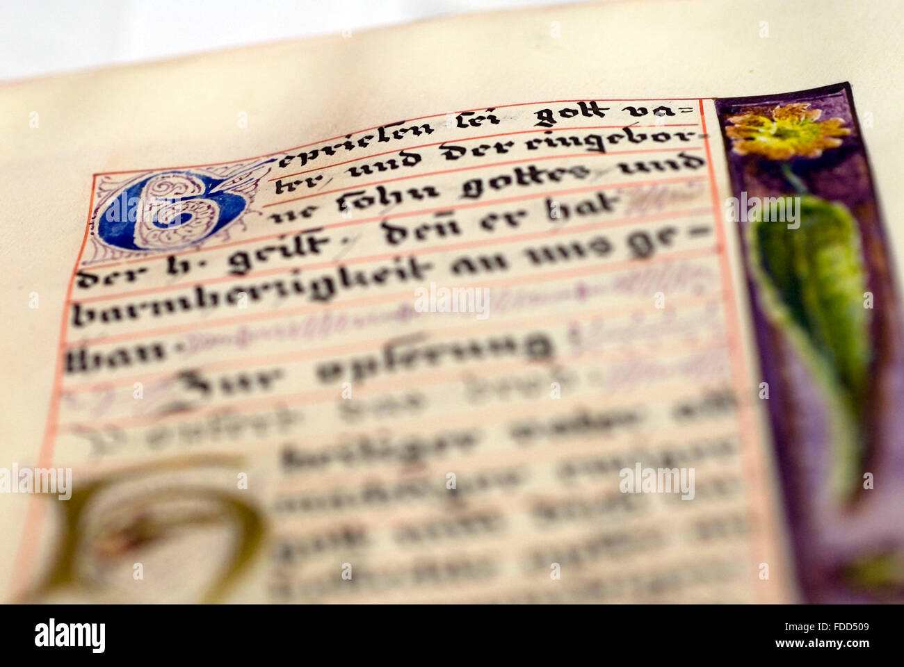 Historic, hand-written biblical script at a convent library, Germany,  europe - Stock Image