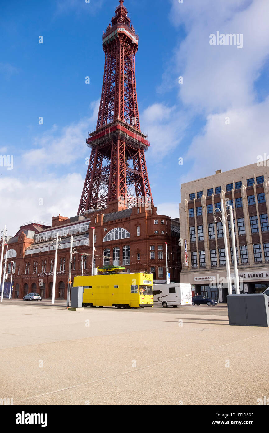 Blackpool tower and tramway on a spring morning. - Stock Image