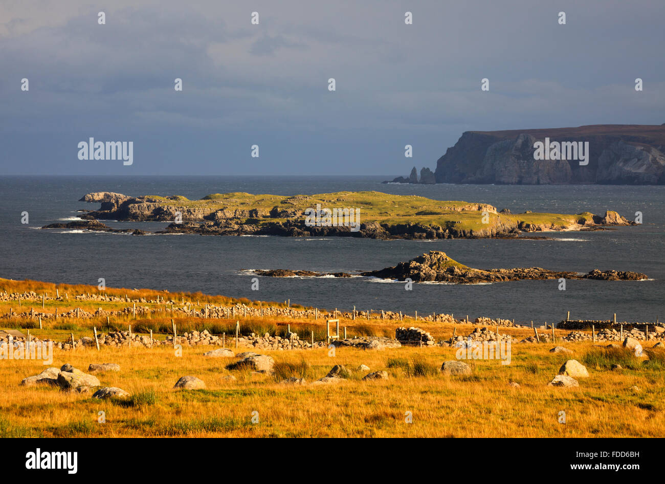 Islands near Leinnmore at the mouth of Loch Eriboll, near Durness in the far North West Highlands of Scotland - Stock Image