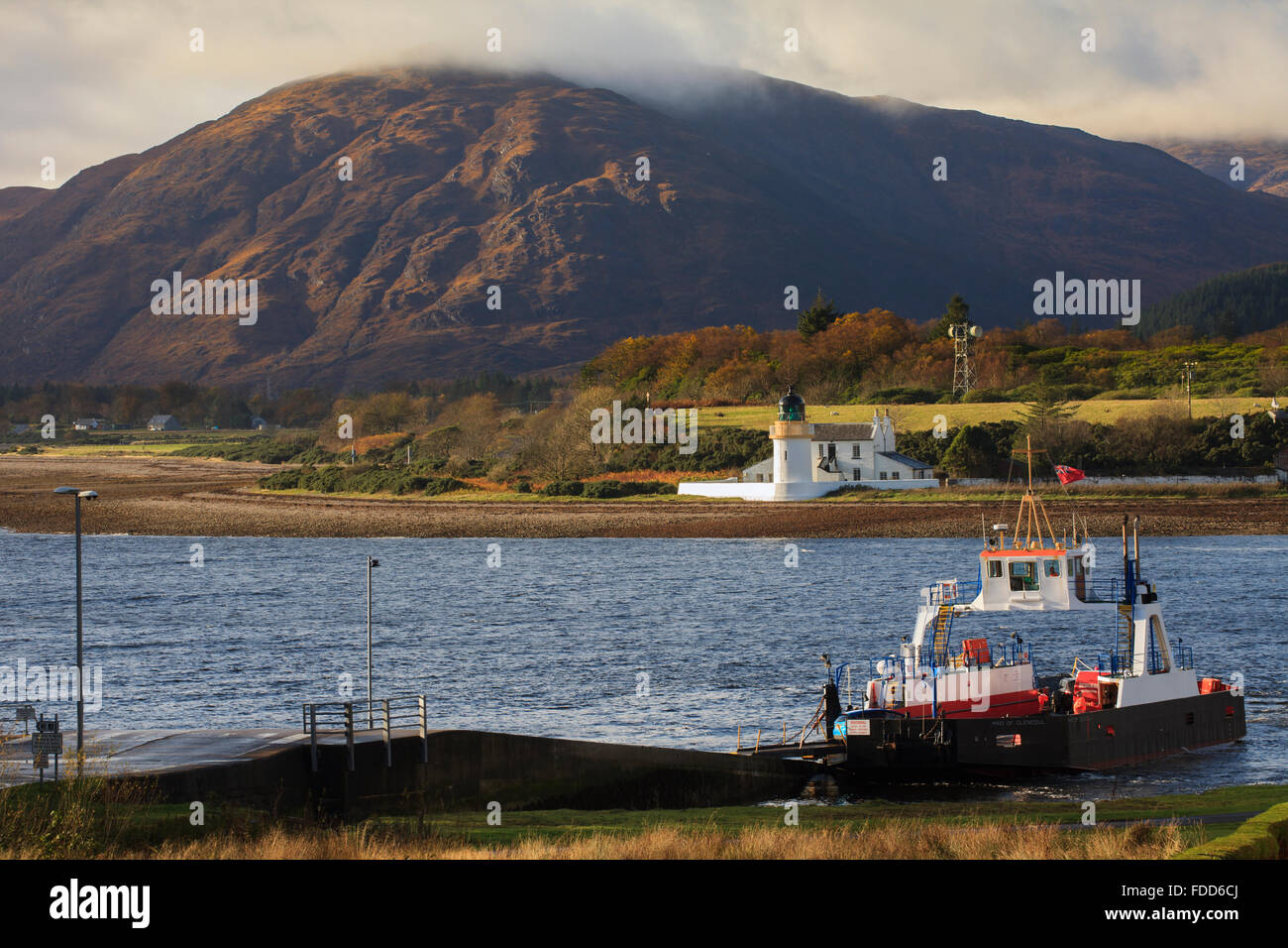 The Corran Ferry near Fort William in the Scottish Highlands. Stock Photo