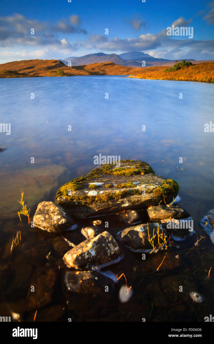 Loch Hakel near Tongue in North West Scotland, with Ben Hope in the distance. - Stock Image