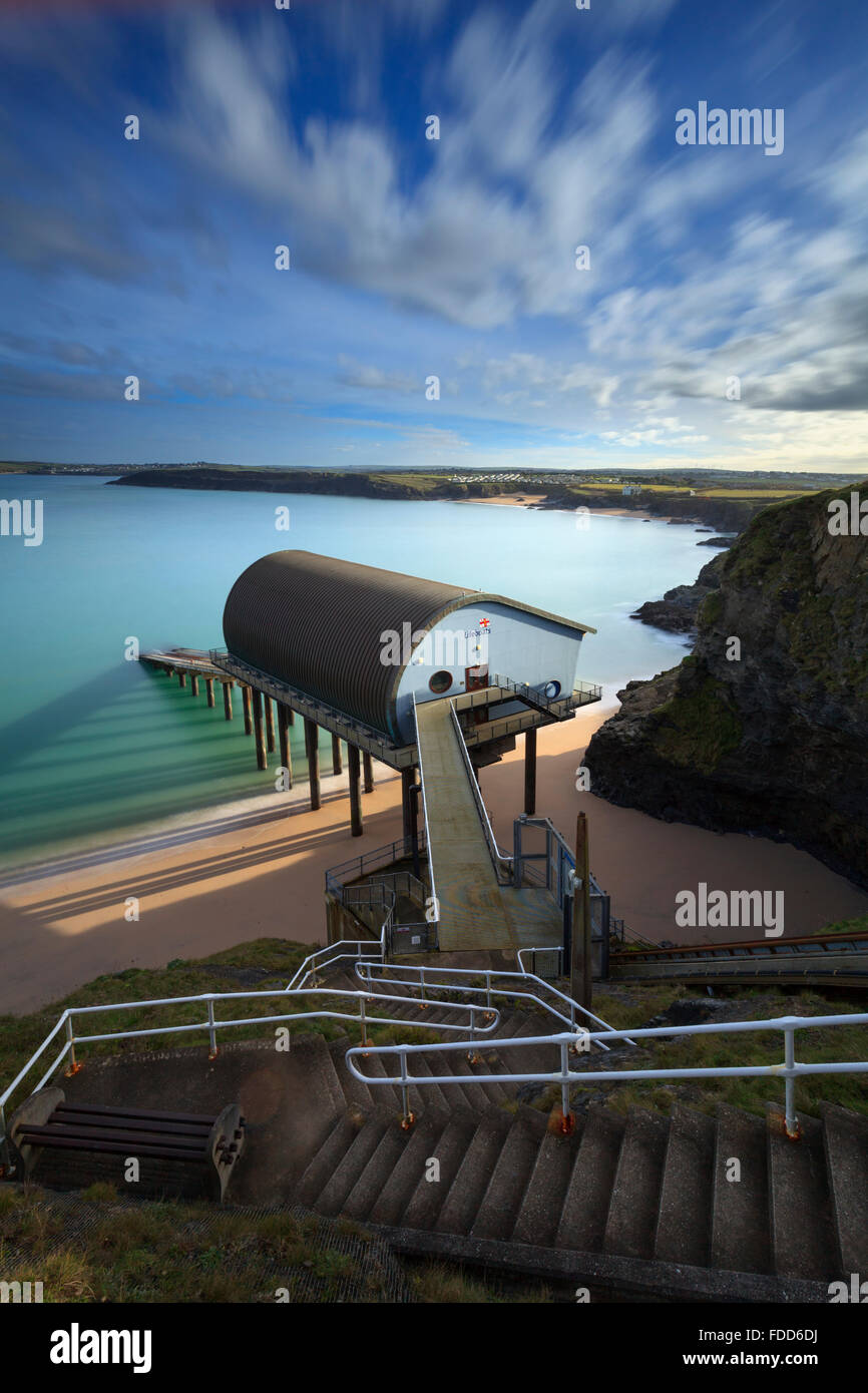 Padstow Lifeboat Station in Mother Ivey's Bay on the North Coast of Cornwall. - Stock Image