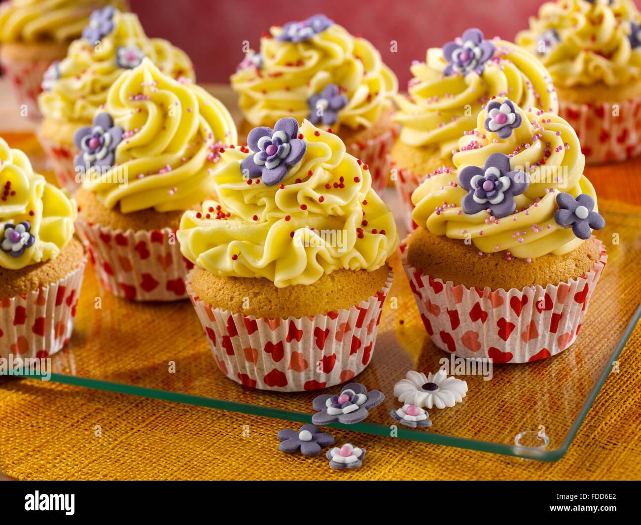 Vanilla cupcakes - Stock Image