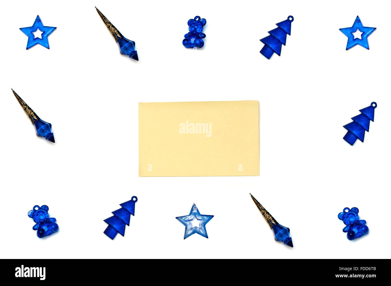 Isolated blue Christmas tree toys on white background Stock Photo