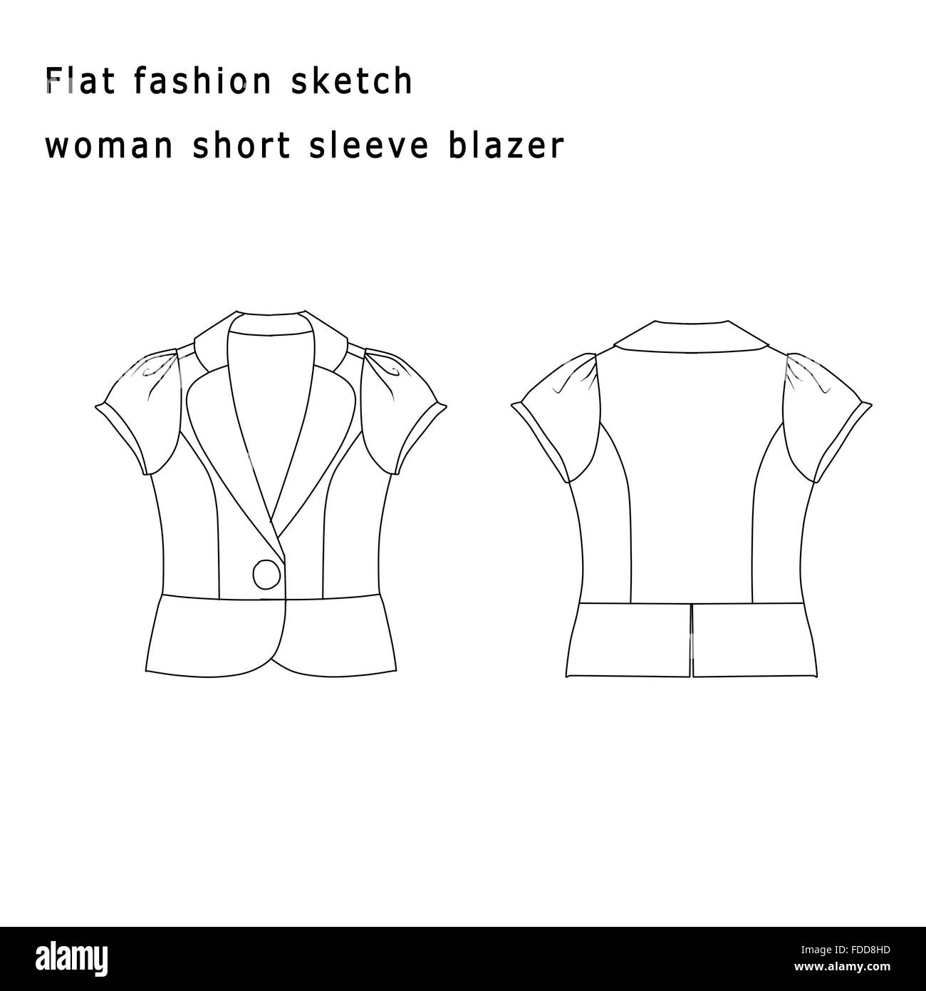 Fashion Illustration Fashion Flat Template Woman Short Blazer
