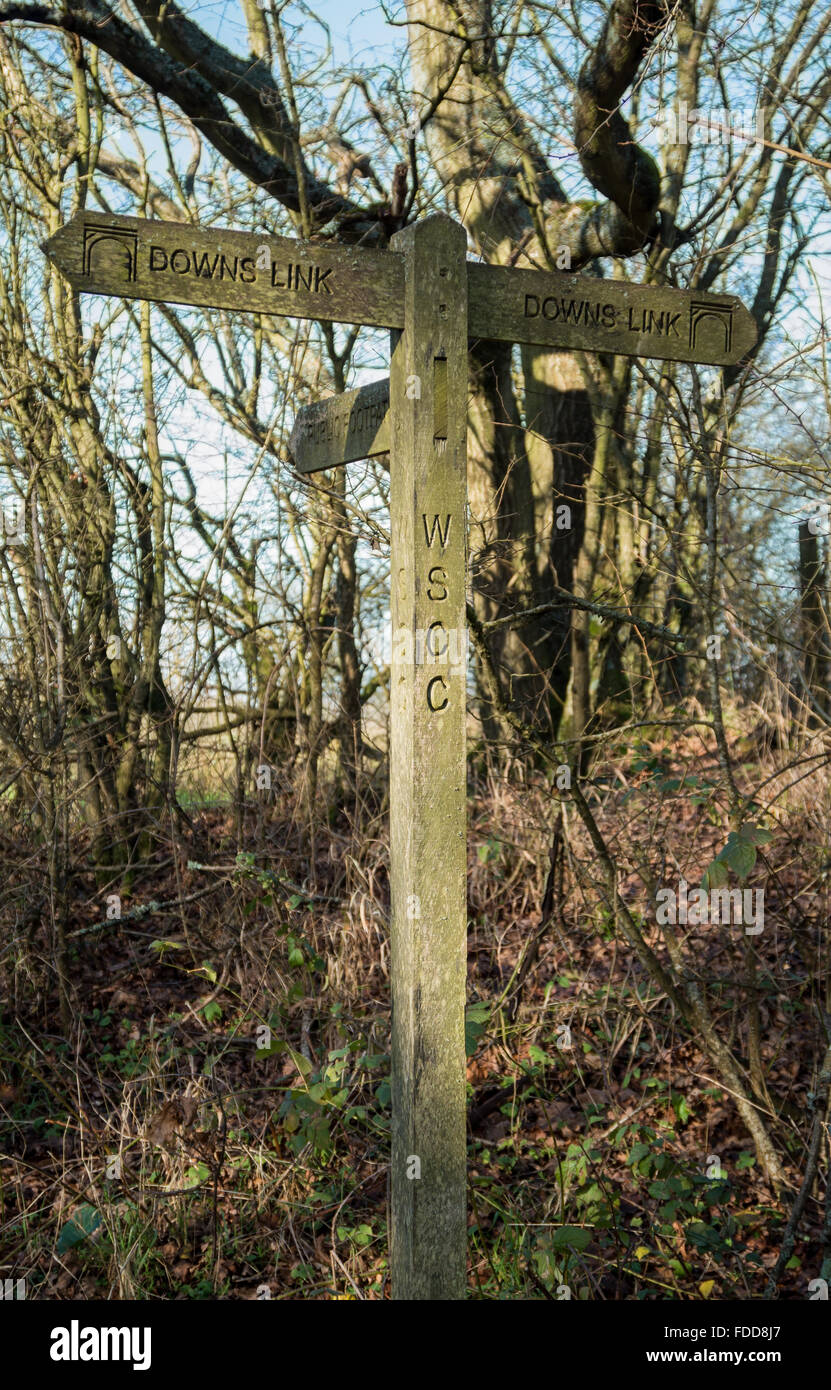 Traditional wooden public footpath and Downs Link trail sign in the West Sussex countryside, UK - Stock Image
