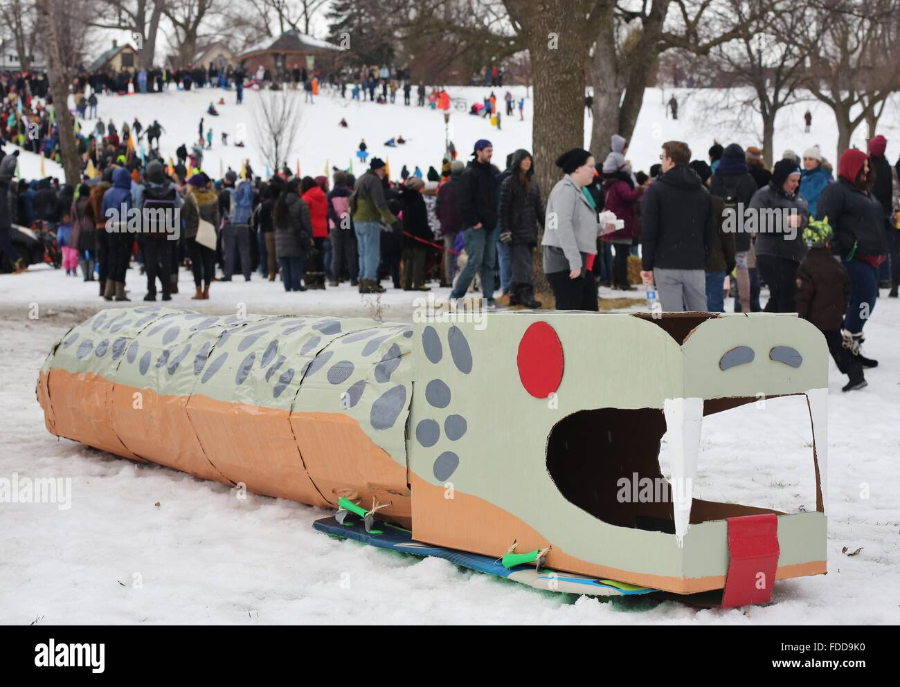 An art sled shaped like a snake at the Art Sled Rally in Minneapolis, Minnesota. - Stock Image