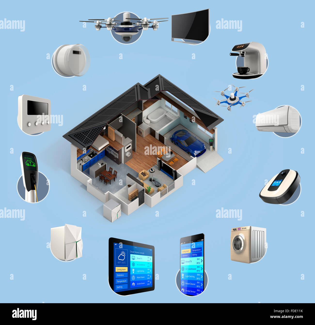 Automation Technology: 3D Infographics Of Smart Home Automation Technology. Smart