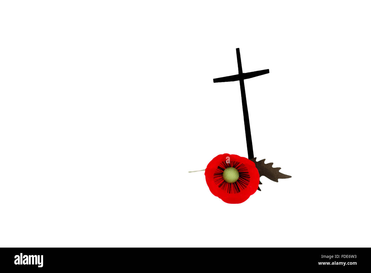 Veterans Day poppy with cross in isolated on white background - Stock Image