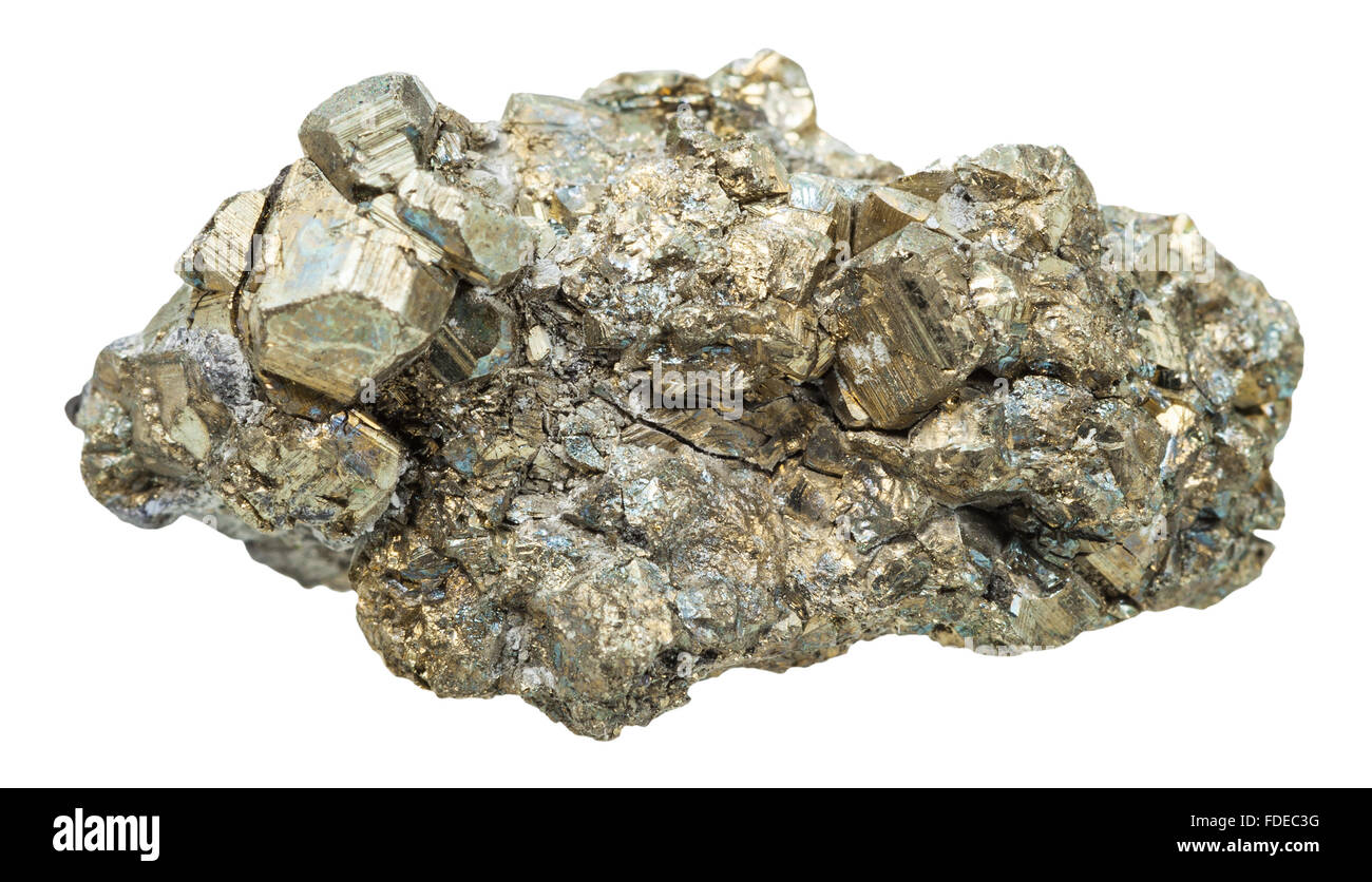 macro shooting of collection natural rock - cristals of pyrite mineral stone isolated on white background - Stock Image