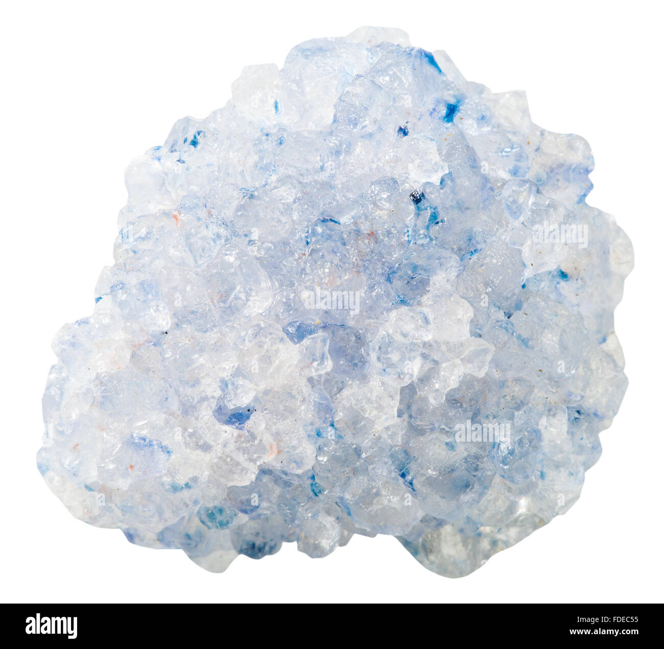 macro shooting of collection natural rock - blue crystalline Celestine (celestite) mineral stone isolated on white - Stock Image