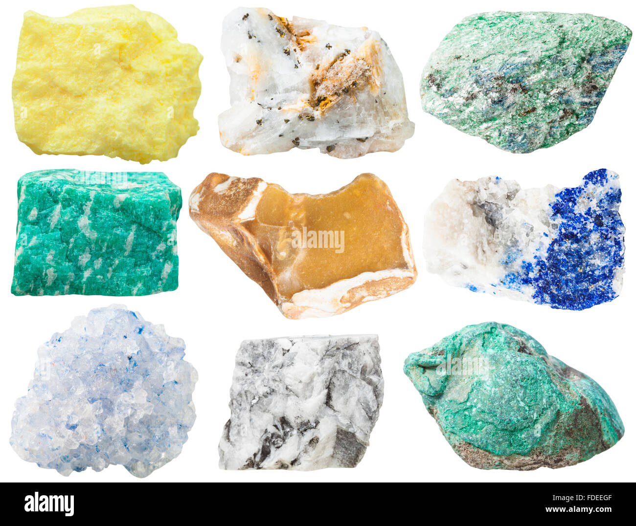 collection of different mineral rocks and stones - sulfur, pyrite crystals in quartzite, Fuchsite, amazonite, flint, - Stock Image