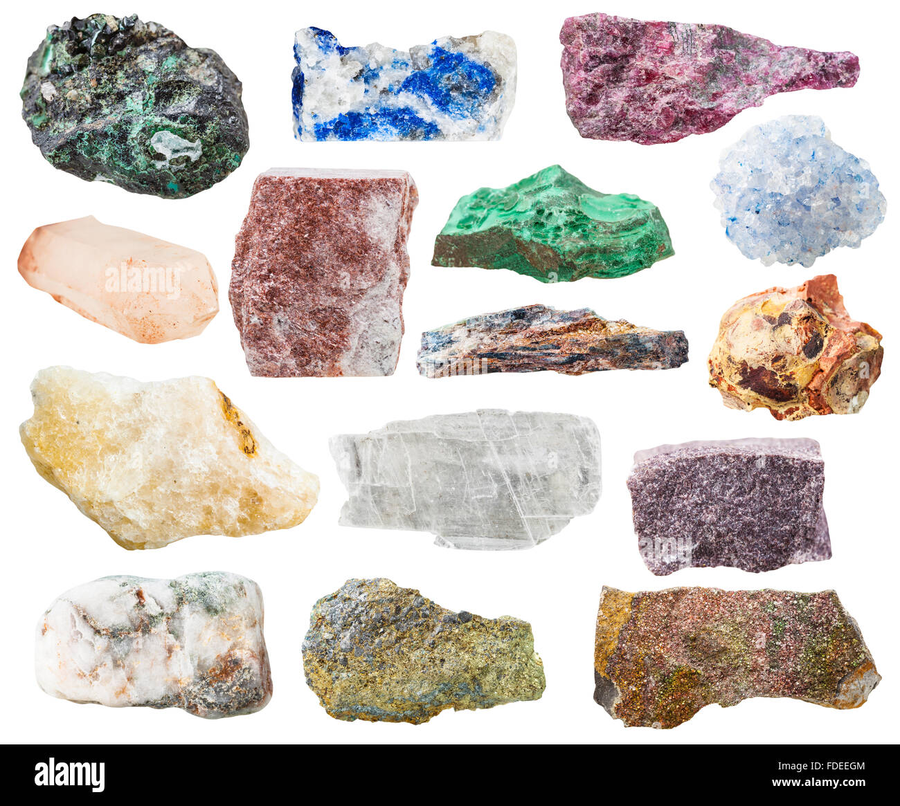 many natural rocks and stones - lazurite, bauxite, eudialyte, alunite, schist, malachite, pyrite, quartz, aventurine, - Stock Image
